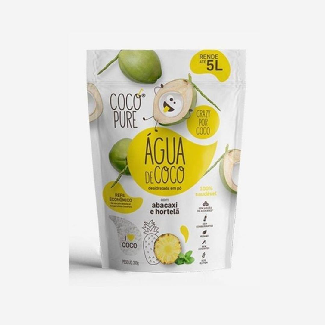 Água de Coco Com Abacaxi e Hortelã 200g Refil Cocopure