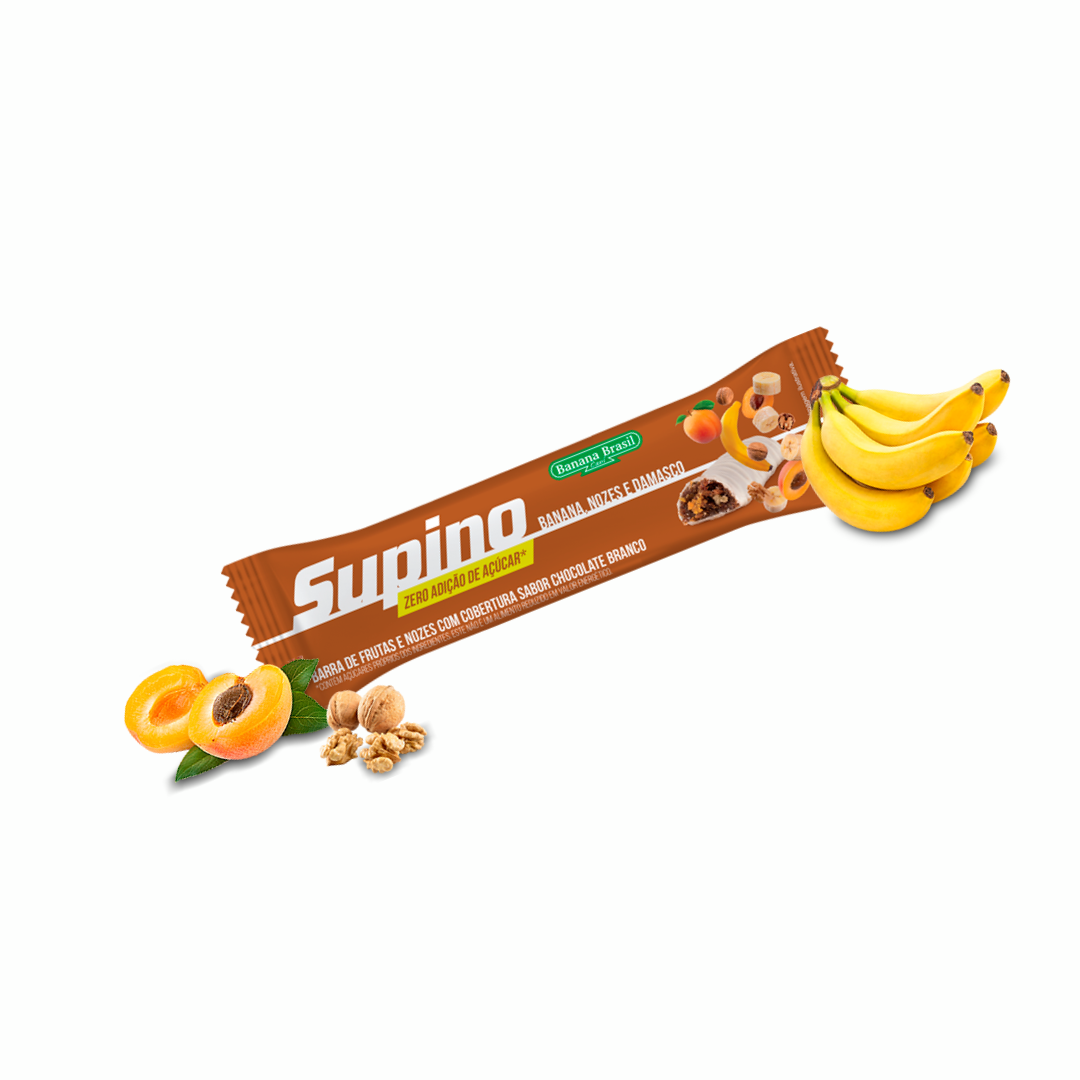 Barra De Fruta Supino Banana,Nozes e Damasco Zero 24g Banana Brasil