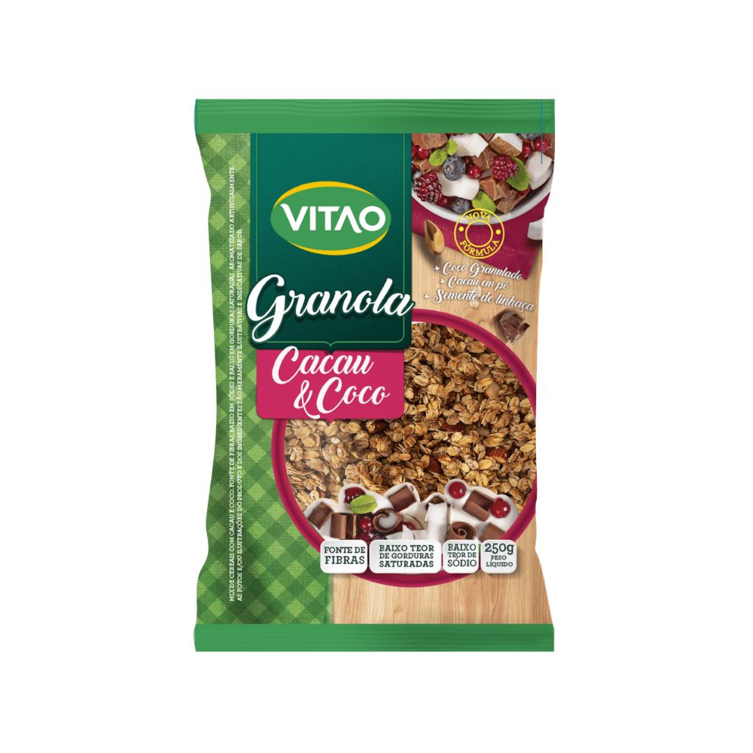Granola Integral Cacau Com Coco Vegana 250g Vitao
